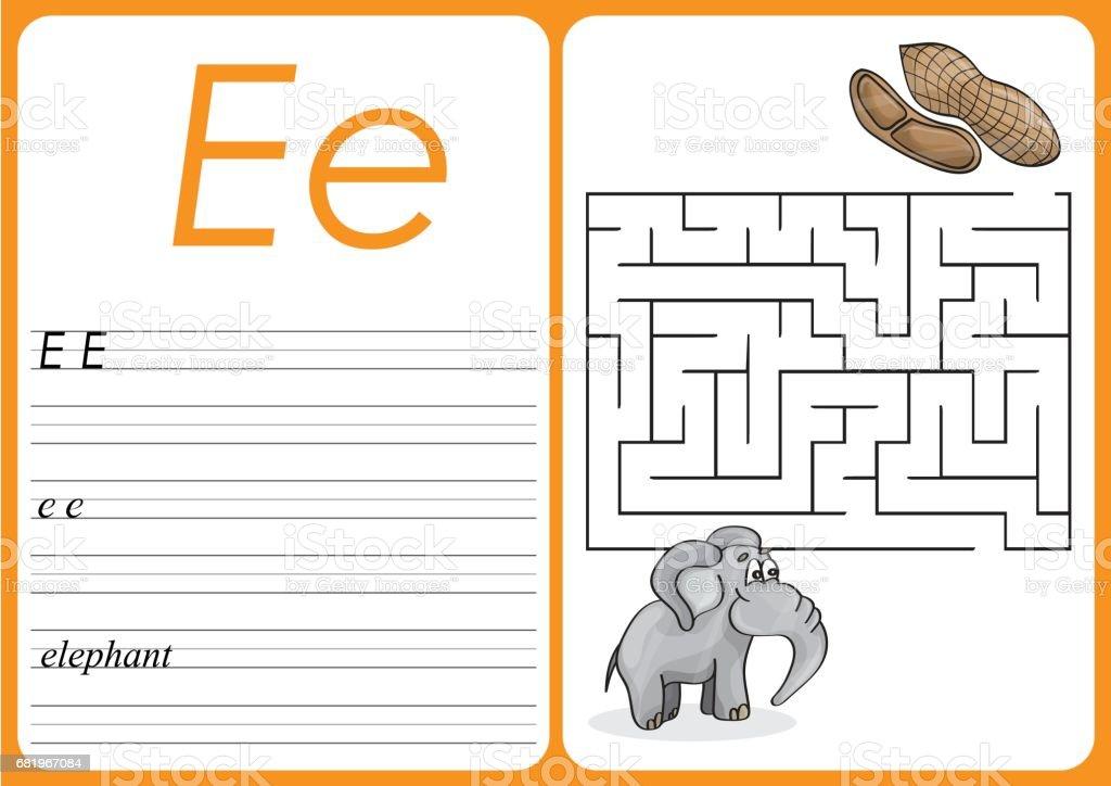 Ilustración de Alfabeto Az Rompecabezas Hoja De Cálculo Elefante ...