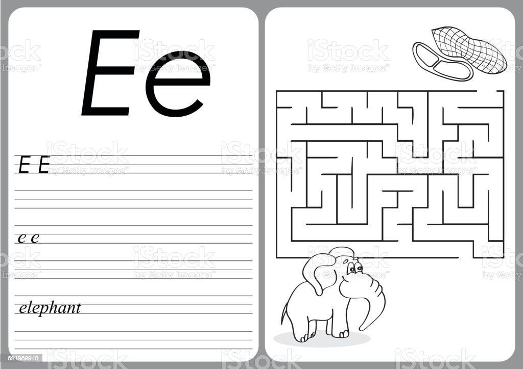 Alphabet Az Puzzle Arbeitsblatt Niedlichen Elefanten Und Erdnüssen ...
