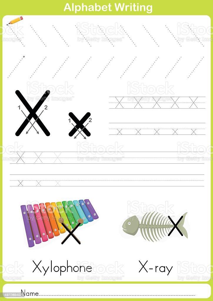 Alphabet Az Tracing Worksheet Exercises For Kids Stock Vector Art