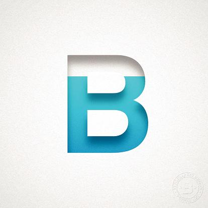 Alphabet B Design - Blue Letter on Watercolor Paper