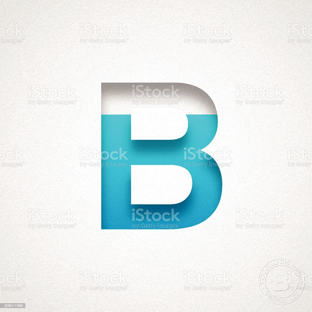 Alphabet B Design - Blue Letter on Watercolor Paper vektör sanat illüstrasyonu