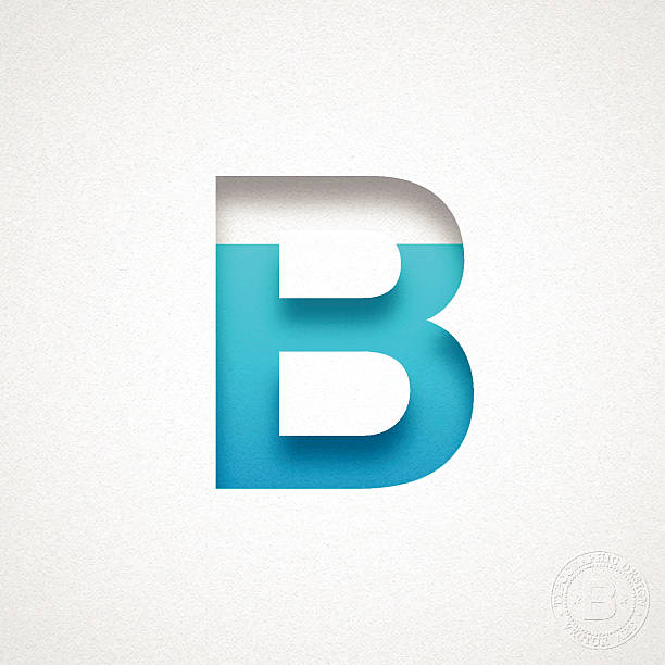 Alphabet B Design - Blue Letter on Watercolor Paper vektör sanat illüstrasyonu