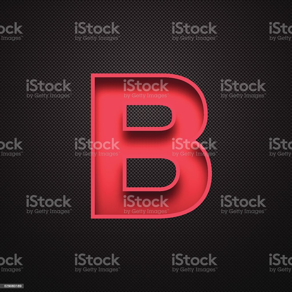 Alphabet B Design - Red Letter on Carbon Fiber Background vector art illustration