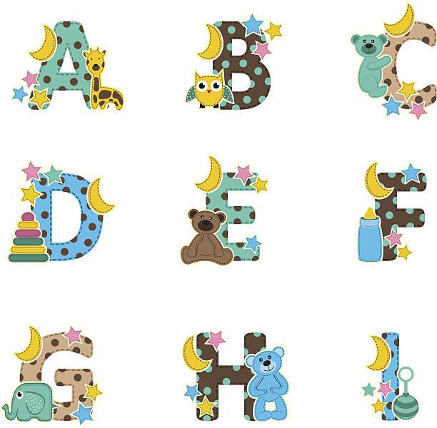alphabet auf eine baby zu i-vector illustrationen - puppenkurse stock-grafiken, -clipart, -cartoons und -symbole