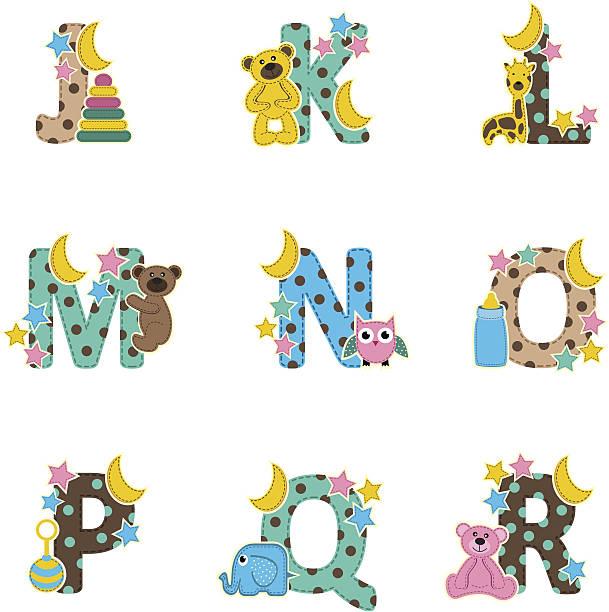 alphabet baby von j bis r - puppenkurse stock-grafiken, -clipart, -cartoons und -symbole