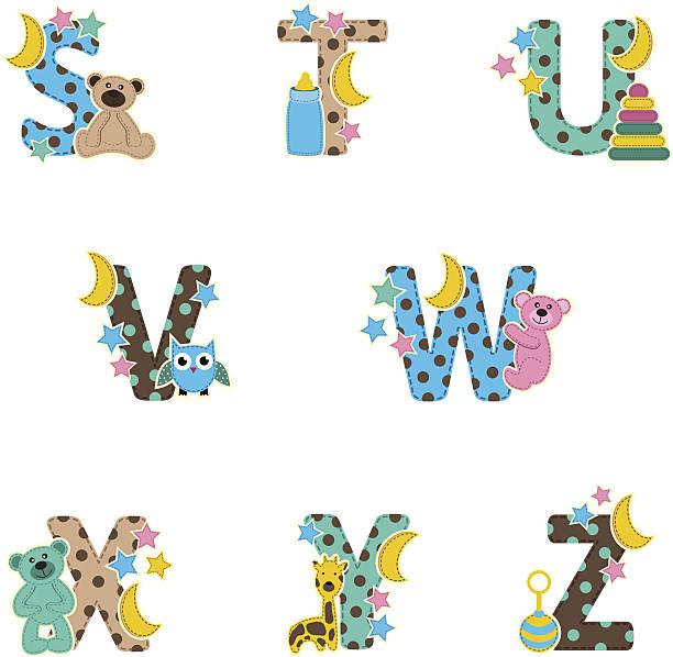 alphabet baby von s bis z - puppenkurse stock-grafiken, -clipart, -cartoons und -symbole