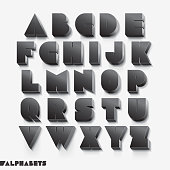 3D alphabet black color.