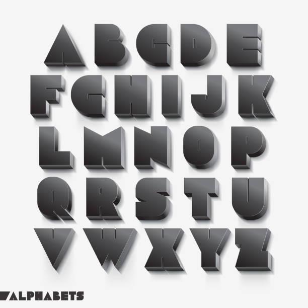 3d alphabet black color. - 畫畫 動態活動 幅插畫檔、美工圖案、卡通及圖標