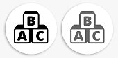 Alphabet Blocks Black and White Round Icon. This 100% royalty free vector illustration is featuring a round button with a drop shadow and the main icon is depicted in black and in grey for a roll-over effect.