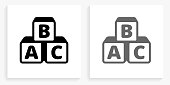 istock Alphabet Blocks Black and White Square Icon 1143960701