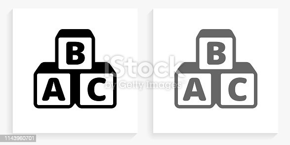 Alphabet Blocks Black and White Square Icon. This 100% royalty free vector illustration is featuring the square button with a drop shadow and the main icon is depicted in black and in grey for a roll-over effect.. This 100% royalty free vector illustration is featuring the square button with a drop shadow and the main icon is depicted in black and in grey for a roll-over effect.