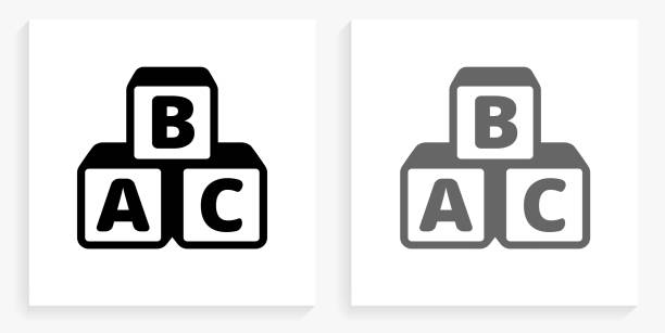 alphabet blocks black and white square icon - alphabet icons stock illustrations