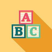 istock Alphabet Blocks Flat Design Baby Icon 915904300