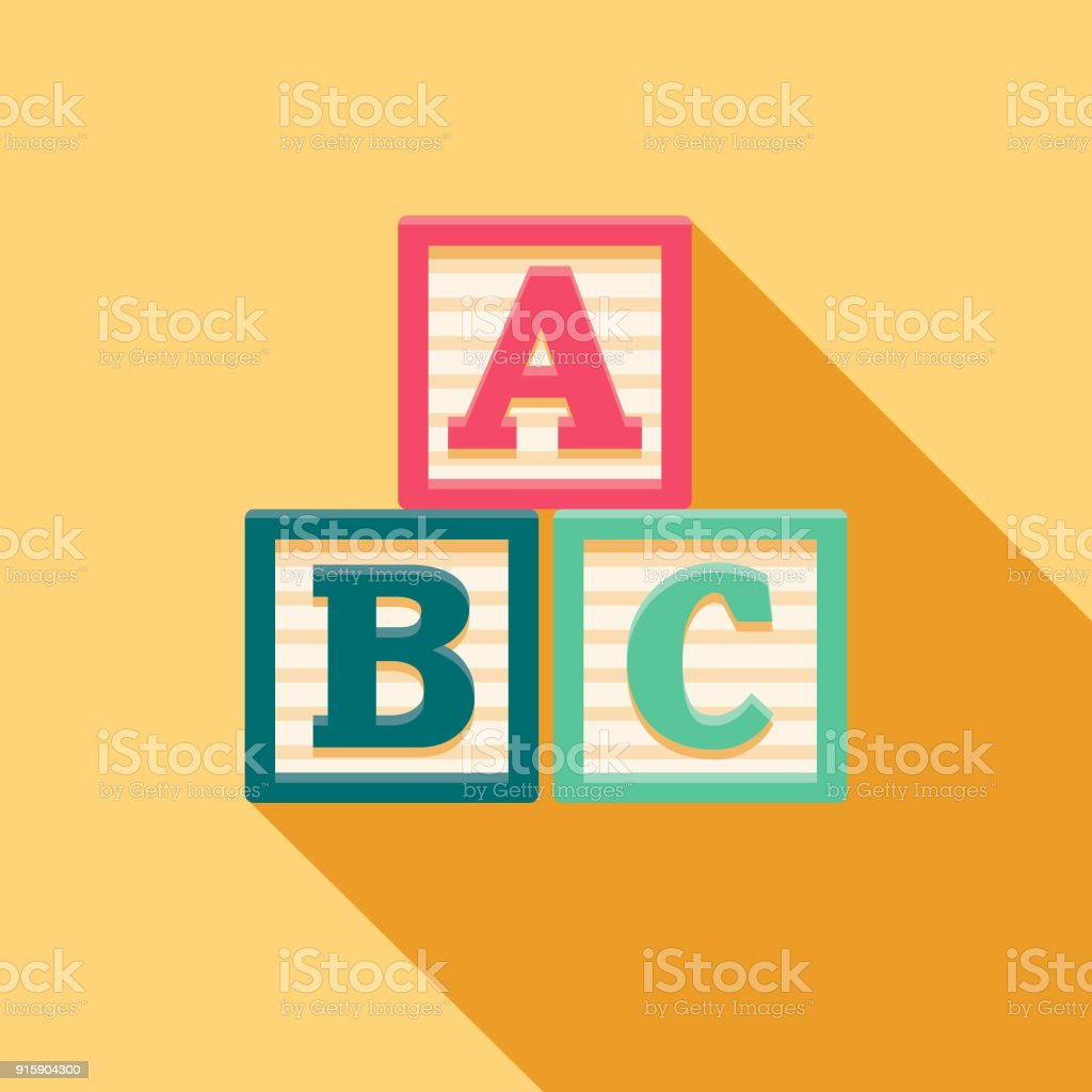 Alphabet Blocks Flat Design Baby Icon vector art illustration