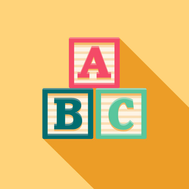 alphabet blocks flat design baby icon - blocks stock illustrations, clip art, cartoons, & icons