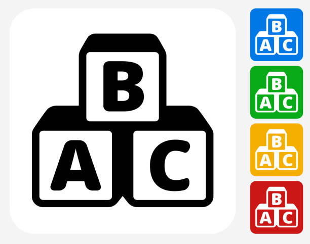 Alphabet Blocks Icon Flat Graphic Design Alphabet Blocks Icon. This 100% royalty free vector illustration features the main icon pictured in black inside a white square. The alternative color options in blue, green, yellow and red are on the right of the icon and are arranged in a vertical column. alphabet icons stock illustrations