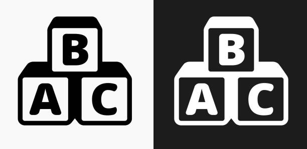 Alphabet Blocks Icon on Black and White Vector Backgrounds Alphabet Blocks Icon on Black and White Vector Backgrounds. This vector illustration includes two variations of the icon one in black on a light background on the left and another version in white on a dark background positioned on the right. The vector icon is simple yet elegant and can be used in a variety of ways including website or mobile application icon. This royalty free image is 100% vector based and all design elements can be scaled to any size. alphabet clipart stock illustrations