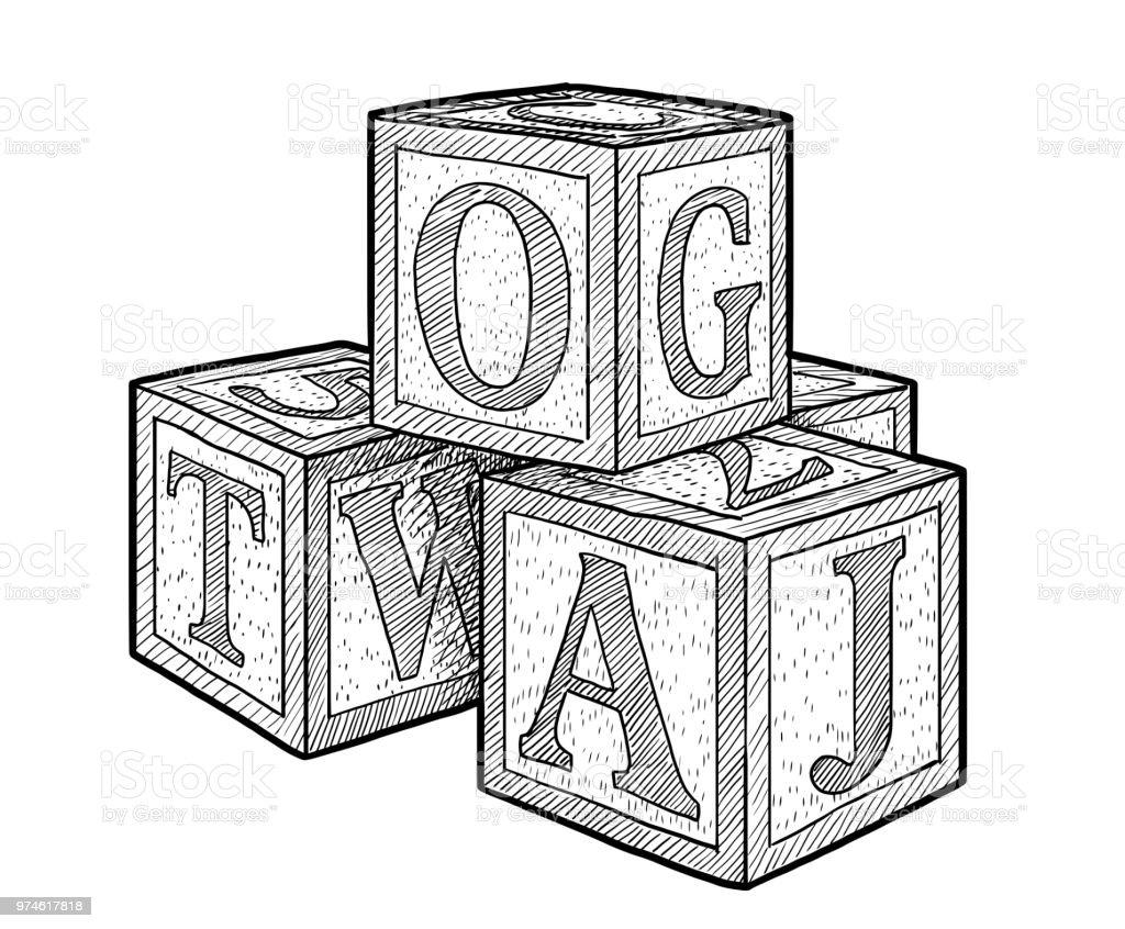 Ilustración de alfabeto bloques, dibujo, grabado, tinta, arte lineal, vectores - ilustración de arte vectorial
