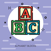 Alphabet Blocks Open Outline Baby Icon