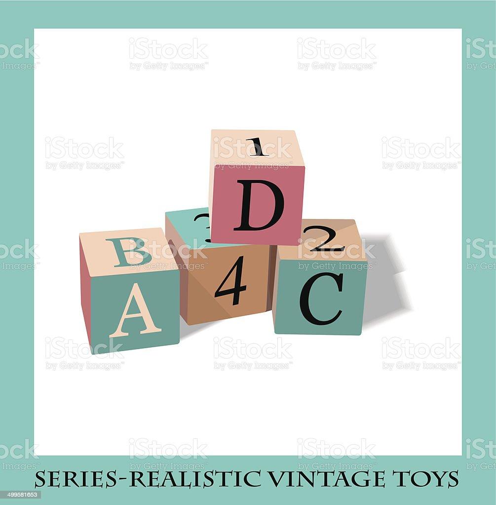 Alfabeto cuadras, serie realista vintage toys - ilustración de arte vectorial