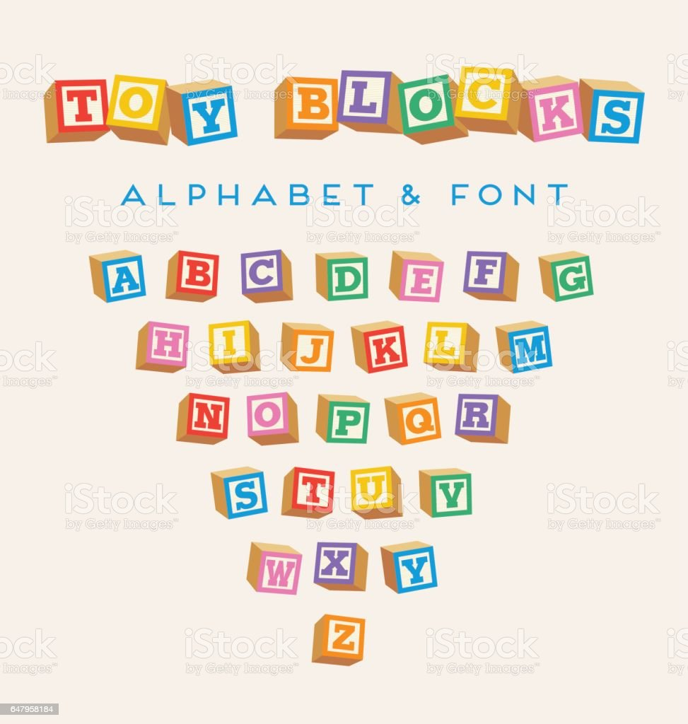3d Alphabet Blocks Toy Baby Blocks Font In Bright Colors Stock