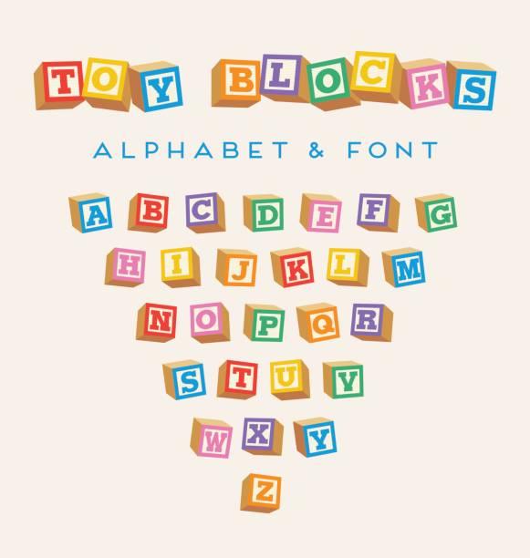 ilustrações, clipart, desenhos animados e ícones de blocos 3d alfabeto, fonte de blocos de bebê de brinquedo em cores brilhantes - bloco