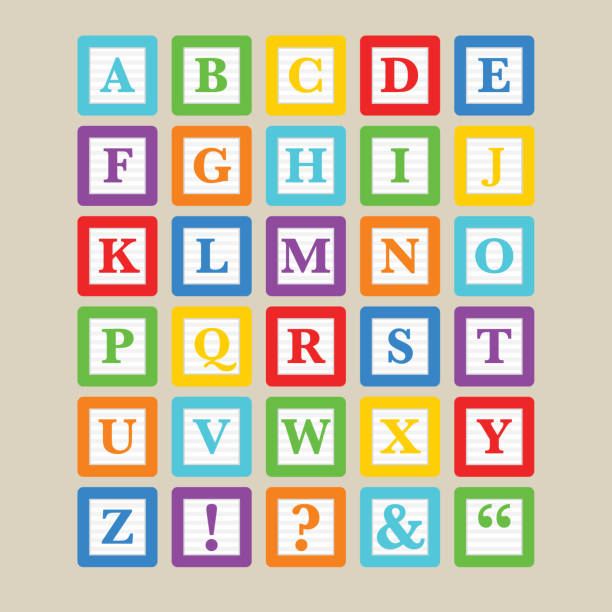 alphabet blocks - blocks stock illustrations, clip art, cartoons, & icons
