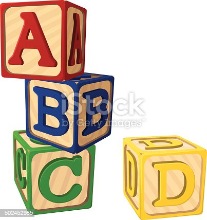 Vector illustration of children's alphabet blocks.  Each block is on its own layer, easily separated from the other blocks in a program like Illustrator, etc.  Illustration uses linear gradients.  Both .ai and AI8-compatible .eps formats are included, along with a high-res .jpg, and a high-res .png with transparent background.