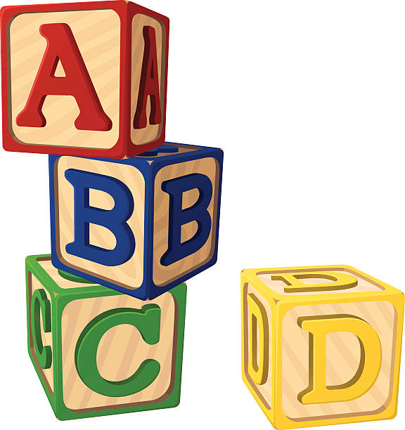 alphabet blocks - lego stock illustrations