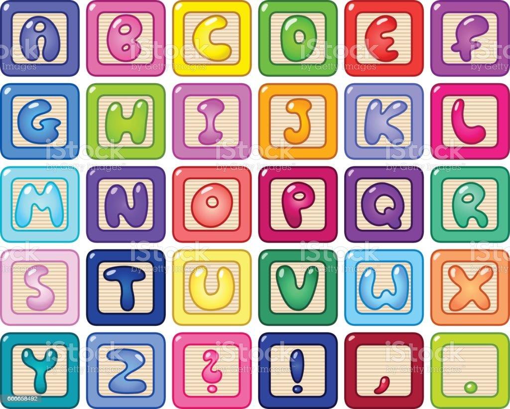 Alfabeto cuadras - ilustración de arte vectorial