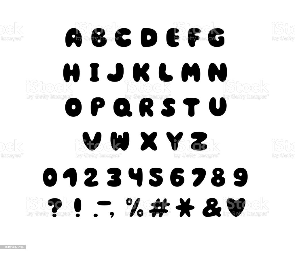 Alphabet Bubble Design Letters Numbers And Punctuation Marks Font