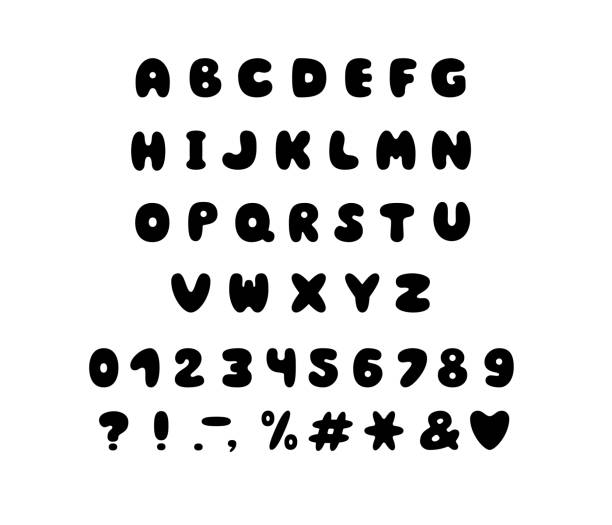 alphabet bubble design. letters, numbers and punctuation marks. font vector typography. eps 10 - bubble fonts stock illustrations