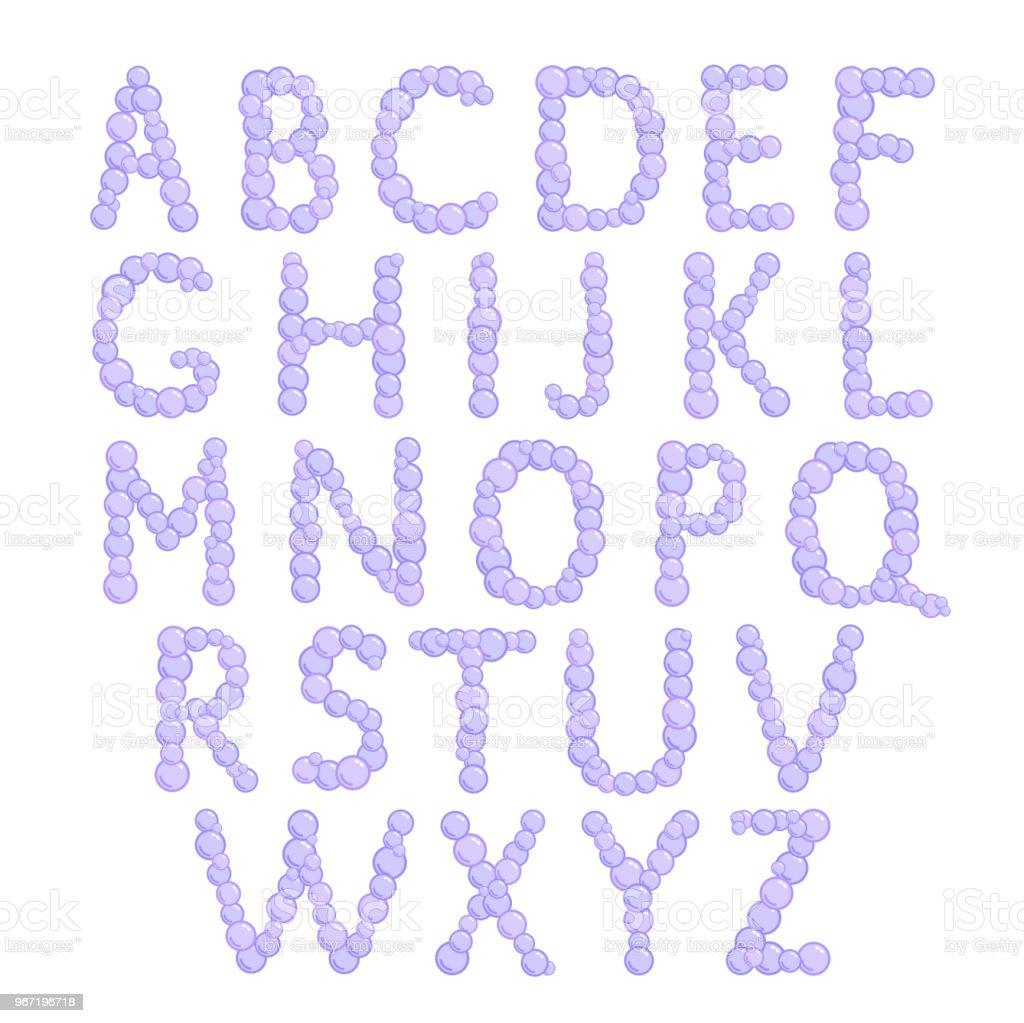 alphabet bubbles letters foam font vector illustration royalty free alphabet bubbles letters foam
