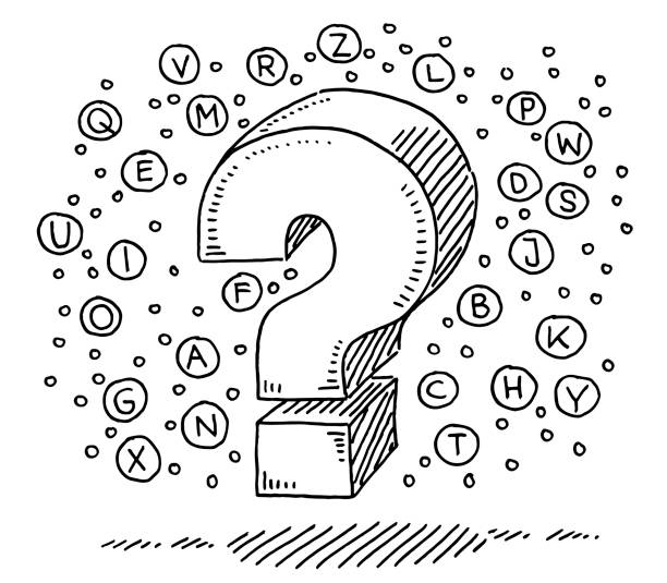Alphabet Bubbles Question Mark Sign Drawing Hand-drawn vector drawing of a Question Mark Sign and Alphabet Bubbles. Black-and-White sketch on a transparent background (.eps-file). Included files are EPS (v10) and Hi-Res JPG. game stock illustrations