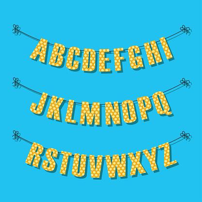 alphabet buntings garlands, vector illustration