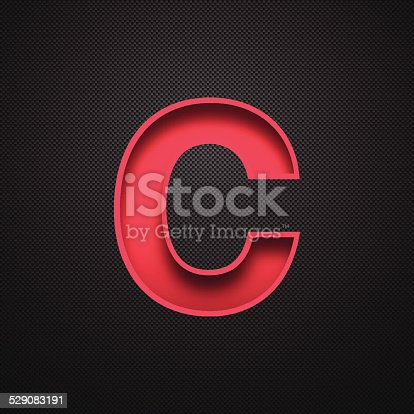 istock Alphabet C Design - Red Letter on Carbon Fiber Background 529083191