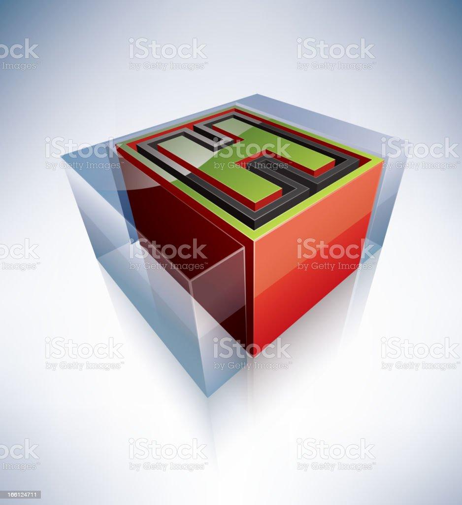 3D alphabet: Capital letter H royalty-free stock vector art