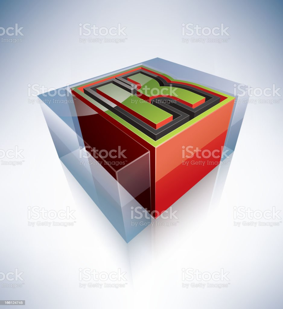 3D alphabet: Capital letter K royalty-free stock vector art