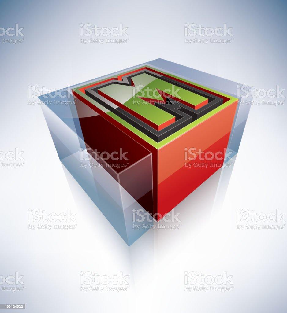 3D alphabet: Capital letter M royalty-free stock vector art