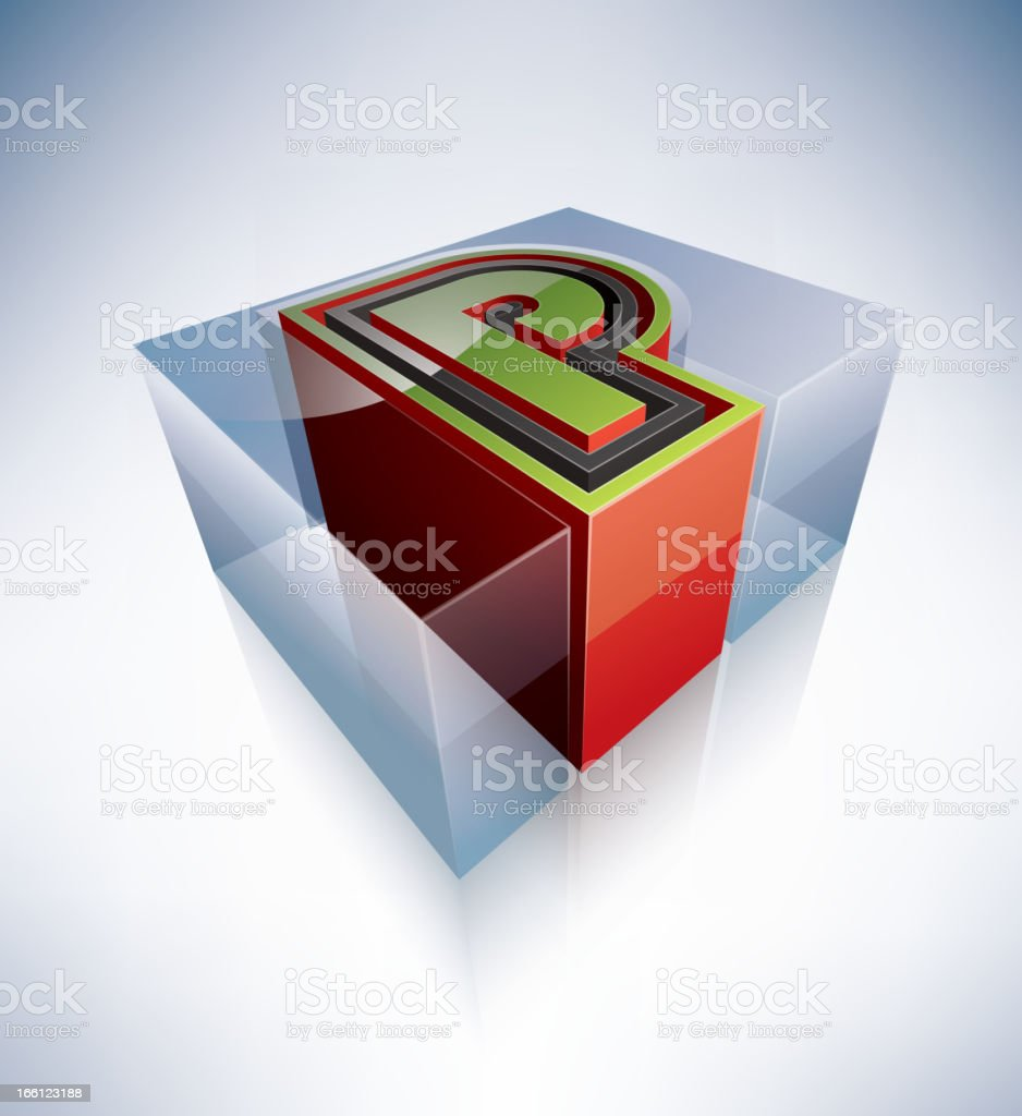 3D alphabet: Capital letter P royalty-free stock vector art