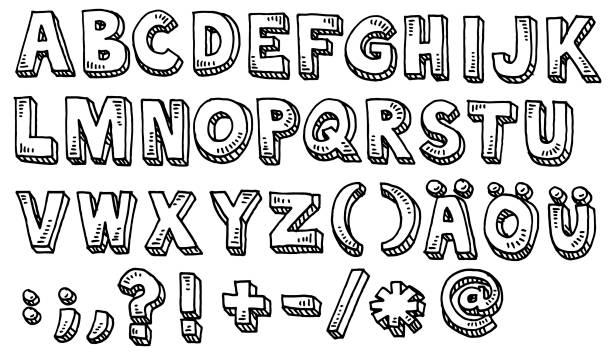 Alphabet Capital Letters And Special Characters Drawing Hand-drawn vector drawing of an Alphabet Capital Letters And Special Characters, including german Umlauts. Black-and-White sketch on a transparent background (.eps-file). Included files are EPS (v10) and Hi-Res JPG. alphabet clipart stock illustrations