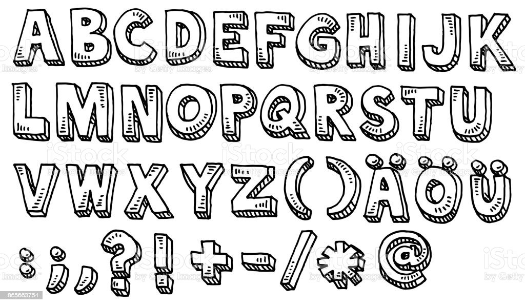 Alphabet Capital Letters And Special Characters Drawing vector art illustration