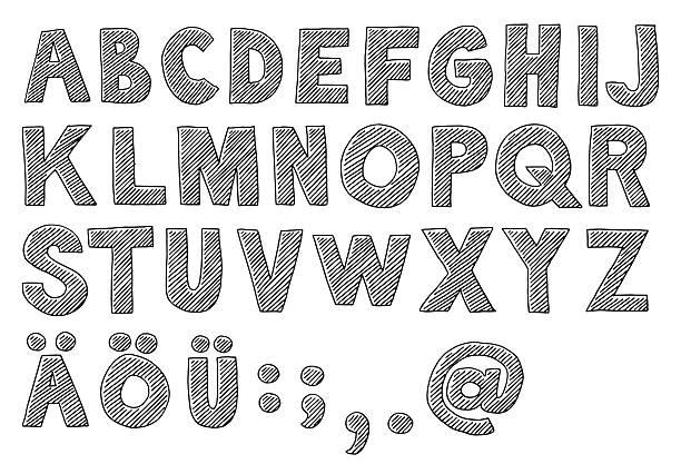 alphabet capital letters drawing - alphabet clipart stock illustrations