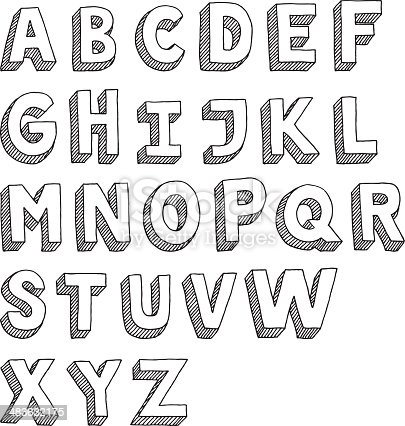 Hand-drawn vector drawing of an Sans Serif Alphabet -Capital Letters. Black-and-White sketch on a transparent background (.eps-file). Included files: EPS (v8) and Hi-Res JPG.