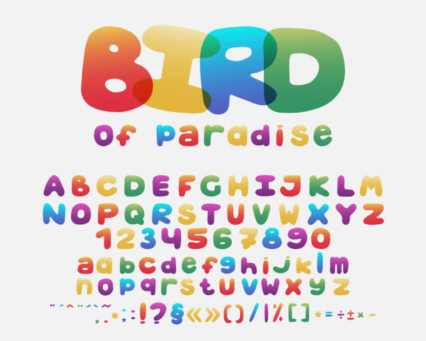 Alphabet cartoon design. Rainbow style. Uppercase and lowercase letters, numbers and punctuation marks. Font vector typography. Hand drawn. EPS10 vector art illustration
