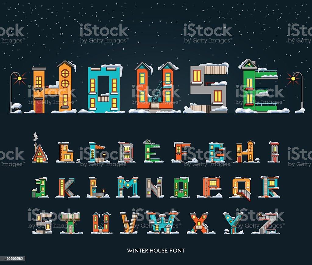 Alphabet de dessin animé maison dhiver police alphabet de dessin animé maison dhiver
