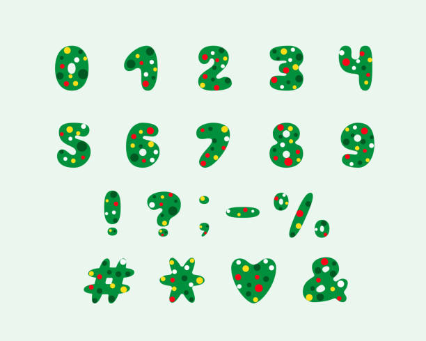alphabet christmas tree design numbers and punctuation marks eps 10 vector art illustration