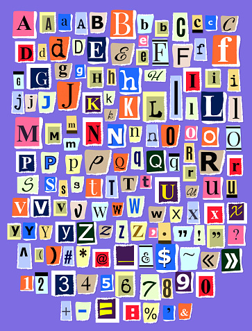 Alphabet collage ABC vector alphabetical font letter cutout of n