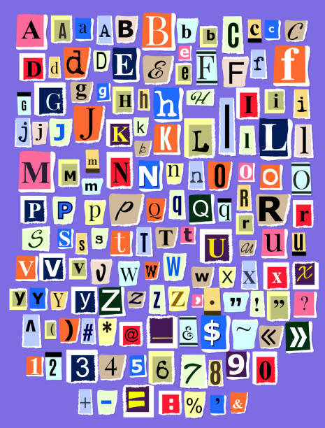 stockillustraties, clipart, cartoons en iconen met alfabet collage abc vector alfabetische lettertype brief knipsel van n - collage