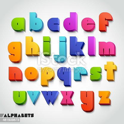 istock 3D alphabet colorful font style. 481909873